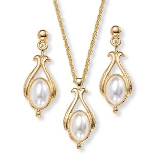 Oval Pearl Drop Pendant Necklace and Earrings Set in Yellow Gold Tone Naturalist