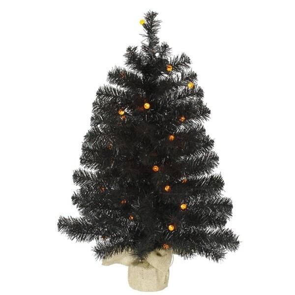 2 5 Pre Lit Black Pine Artificial Halloween Christmas Tree Orange Led Lights