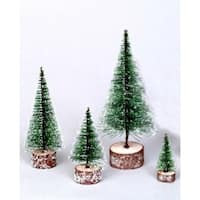 "3"" Green Frosted Artificial Village Christmas Tree - Unlit - N/A"