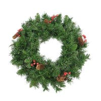 "24"" Iced Mixed Pine  Red Berry and Pine Cone Artificial Christmas Wreath - Unlit"