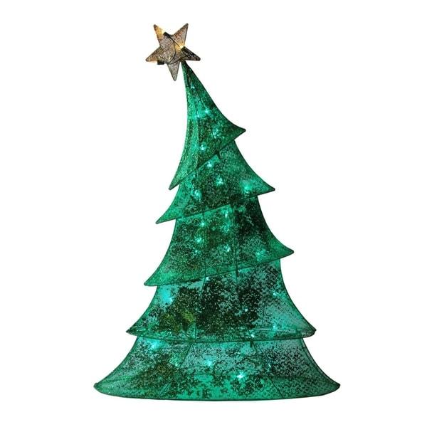 """Whimsical Christmas Trees Ideas: Shop 48"""" LED Lighted 2D Green Glitter Mesh Whimsical"""