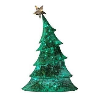 """48"""" LED Lighted 2D Green Glitter Mesh Whimsical Christmas Tree Yard Art Decoration"""