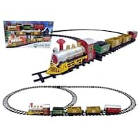 16-Piece Battery Operated Lighted & Animated Christmas Express Train Set with Sound