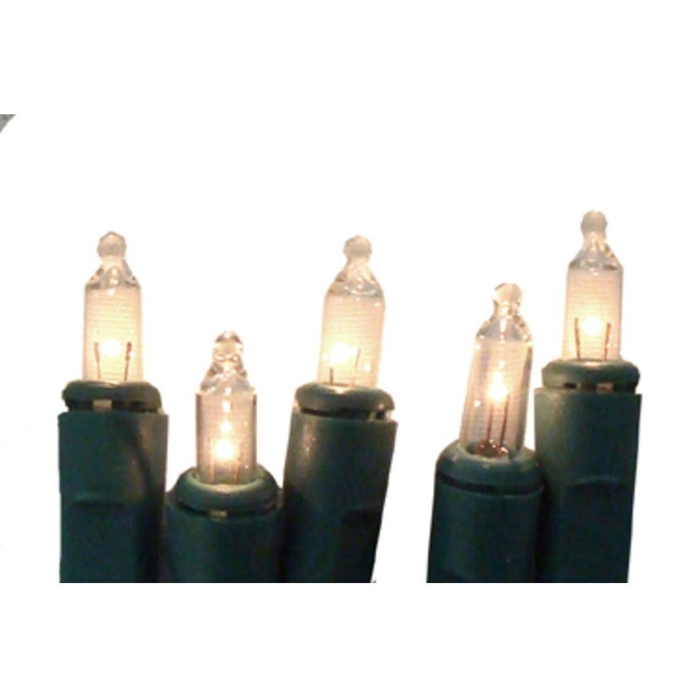 Clear Christmas Lights.Set Of 10 Battery Operated Clear Mini Christmas Lights Green Wire