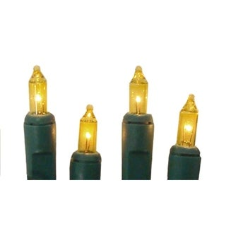 Set of 10 Battery Operated Gold Mini Christmas Lights - Green Wire