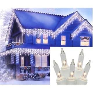 set of 100 clear mini icicle christmas lights white wire - Dripping Icicle Christmas Lights
