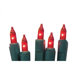 Set of 10 Battery Operated Red Mini Christmas Lights - Green Wire