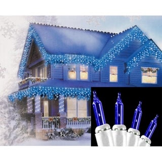 Set of 100 Blue Mini Icicle Christmas Lights - White Wire