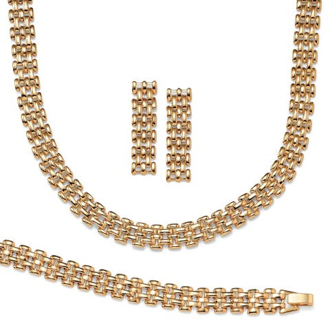 Panther-Link Necklace, Bracelet and Earrings 3-Piece Set in Yellow Gold Tone Tailored
