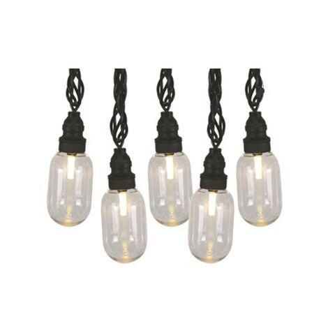 Set 25 LED T11 Oblong Edison Style Amber Christmas Lights - Black Wire