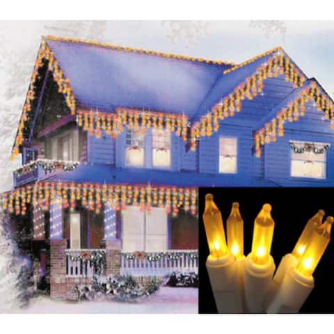 Set of 100 Frosted Gold Mini Icicle Christmas Lights - White Wire