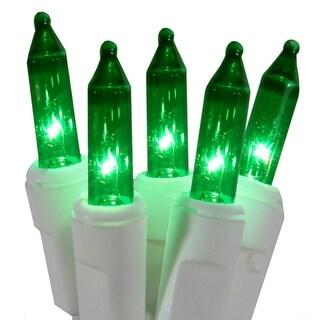 Set of 100 Super Bright Green Mini Christmas Lights - White Wire