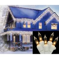 Set of 150 Heavy-Duty Commercial Grade Clear Icicle Lights - White Wire Connect 6