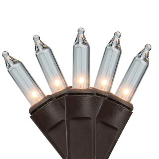 Set of 150 Heavy-Duty Commercial Grade Clear Mini Lights - Brown Wire Connect 6