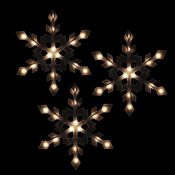 set of 3 clear lighted snowflake icicle christmas lights white wire