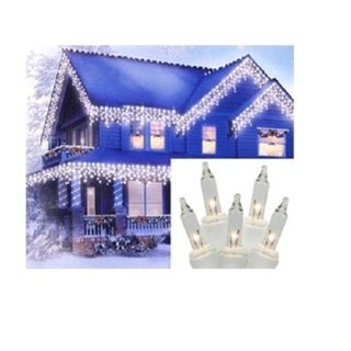 """Set of 300 Heavy Duty Clear Icicle Christmas Lights 3"""" Spacing - White Wire"""