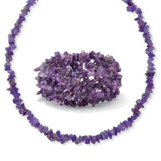 "Genuine Purple Amethyst 2-Piece Nugget-Style Necklace and Stretch Bracelet Set 54"" Naturalist"
