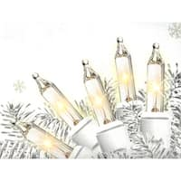 Set of 50 Shimmering Clear Mini Christmas Lights - White Wire