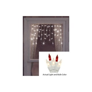 Set of 50 Red and Frosted Clear Mini Window Curtain Icicle Christmas Lights - White Wire