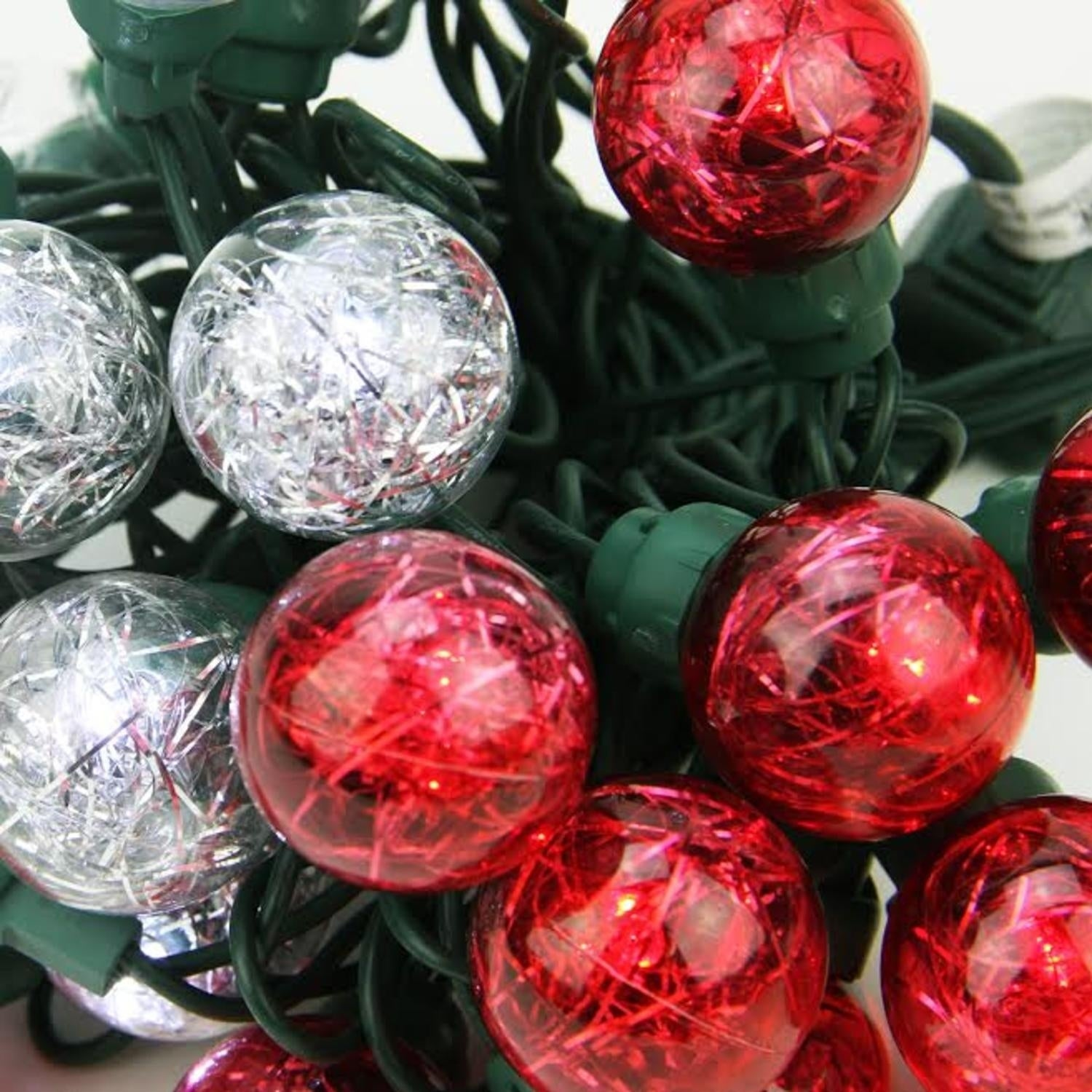 Sienna Set of 25 Red and Pure White Tinsel Wide Angle LED...