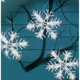 Set of 5 Pure White LED Lighted Snowflake Icicle Christmas Lights - White Wire