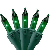 """Set of 50 Green Commercial Grade Mini Christmas Lights 5.5"""" Spacing - Green Wire"""