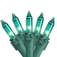 "Set of 50 Teal Mini Christmas Lights 4.25"" Spacing - Green Wire"