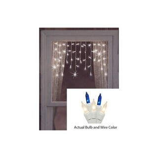 Set of 50 Blue and Frosted Clear Mini Window Curtain Icicle Christmas Lights - White Wire
