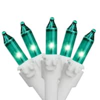"Set of 50 Teal Green Mini Christmas Lights 2.5"" Spacing - White  Wire"
