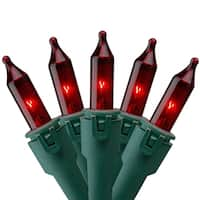 """Set of 50 Red Commercial Grade Mini Christmas Lights 5.5"""" Spacing - Green Wire"""