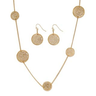 """Openwork Filigree 2-Piece Coin Necklace And Drop Earrings Set 36""""-39"""" Tailored