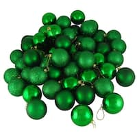 "32ct Shatterproof Xmas Green 4-Finish Christmas Ball Ornaments 3.25"" (80mm)"