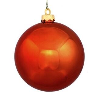 """Shatterproof Shiny Burnt Orange UV Resistant Commercial Christmas Ball Ornament 8"""" (200mm)"""