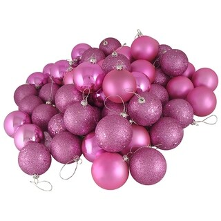 "24ct Orchid Pink Shatterproof 4-Finish Christmas Ball Ornaments 2.5"" (60mm)"
