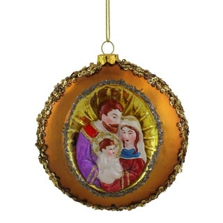 "4"" Joseph Mary and Baby Jesus Sequin Religious Christmas Glass Disc Ornament"