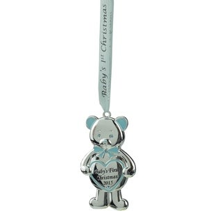 """3.25"""" Regal Silver and Blue """"Baby's First Christmas 2015"""" Bear Ornament w/ European Crystals"""