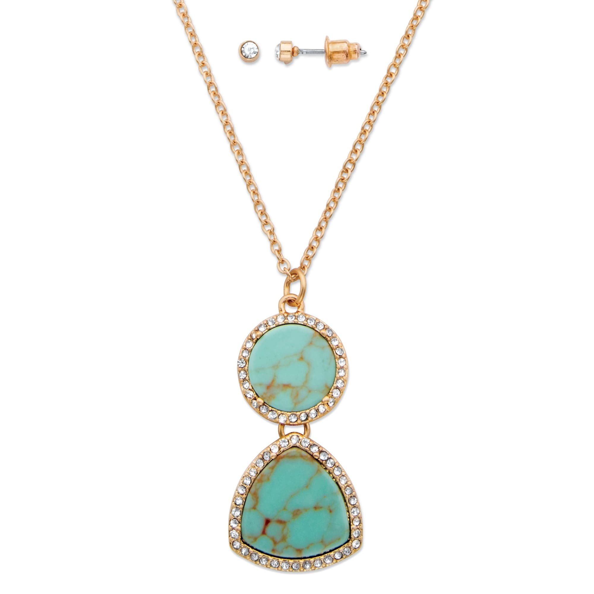 Simulated Turquoise And Crystal 2-Piece Necklace And Earr...