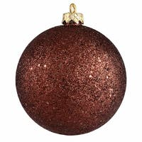 """Chocolate Brown Holographic Glitter Shatterproof Christmas Ornament 4"""" (100mm)"""