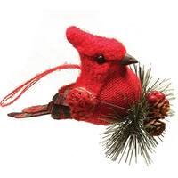 "6.25"" Burlap and Plaid Cardinal on Pine Sprig Christmas Ornament"