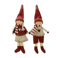 """Set of 2 Light Gray and Red Boy and Girl Decorative Hanging Christmas Ornaments 5.5"""""""