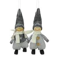 Set of 2 Gray and White Boy and Girl Decorative Hanging Christmas Ornaments 5.5""