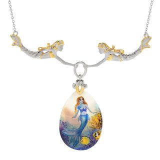 Michael Valitutti Palladium Silver Hand-Painted Mother-of-Pearl Mermaid Necklace