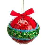 "3.5"" Christmas Brites Red, Green and Blue Sequin and Bead Ball Ornament with Bow"
