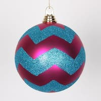 """Cerise Pink Matte w/ Turquoise Blue Glitter Chevron Commercial Size Christmas Ball Ornament 6""""(150mm)"""