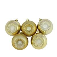"5ct Shiny and Matte Vegas Gold Retro Reflector Shatterproof Christmas Ball Ornaments 3.25"" (80mm)"