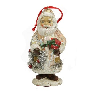 """5"""" Ceramic Glitter Santa with Gifts and Wreath Christmas Ornament"""