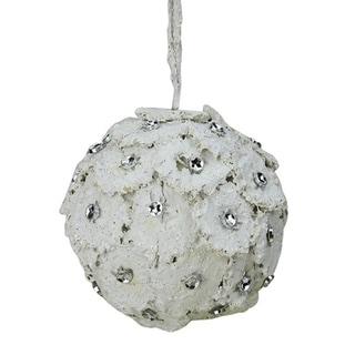 "4"" Rustic Chic Glittered White Flower Petals w/ Rhinestones Christmas Ball Ornament"
