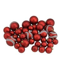 "39ct Red Hot Matte and Glitter Shatterproof Christmas Ball Ornaments 2""-4"""