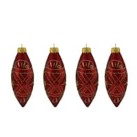 4ct Red and Gold Glitter Mosaic Design Glass Finial Christmas Ornaments 5""
