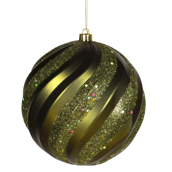 Olive Green Glitter Swirl Shatterproof Christmas Ball Ornament 6